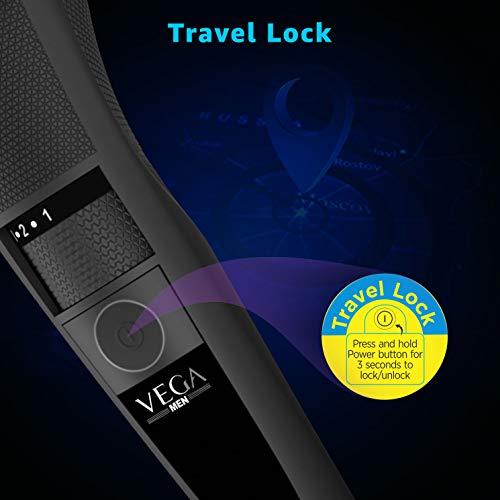 Vega T-3 Beard Trimmer for Men, Stainless Steel Blades, Cordless & Quick Charge, 20 Length Settings, 90 min run time, Black