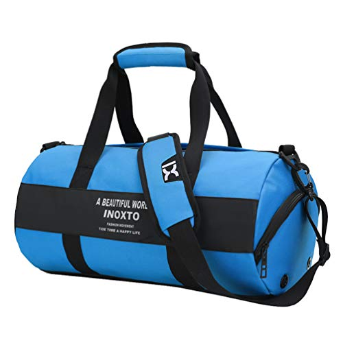 JEELINBORE Travel Duffel Bag Cylinder Waterproof Short Trips Weekend Luggage Bags with Wet Pocket and Shoes Compartment (47 * 24 * 24cm, Blue)