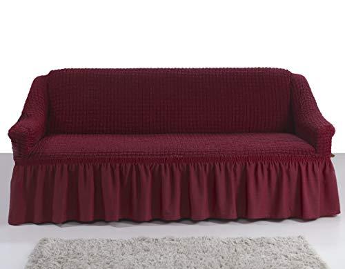My Palace Giulia Sofabezug 2-Sitzer Rutschfester Sofaüberwurf Couchcover Sofa Überwurf elastische Sofahusse Couchbezug Sofaschonbezug 120-190cm Weinrot