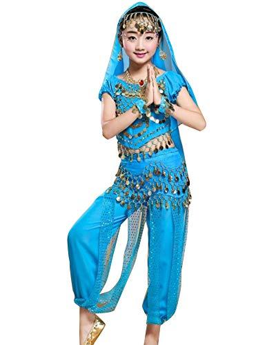 Guiran Kinder Mädchen Damen Bauchtanz Kleidung Tanzkleid Ägypten Indische Tanz Kleidung Lake Blau L Höhengeeignet 121-130CM