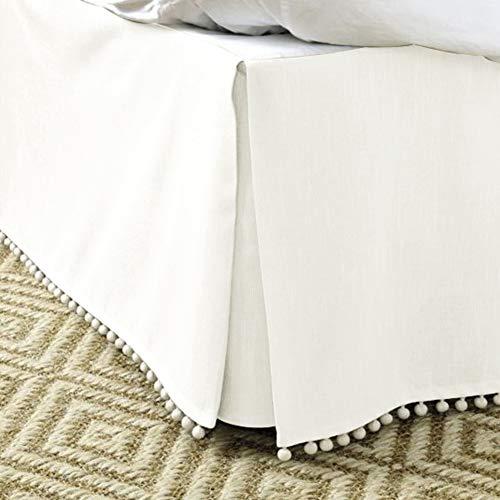 MUZIDP Bettrock,Hotel elastischen Staub einfach passen Falten lichtbeständige ausgestattete Volant- Weißer Reis 100x200cm(39x79inch)