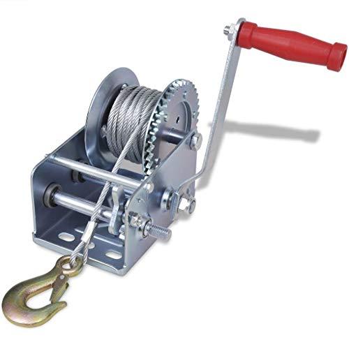 Festnight Cabrestante Manual 1134 kg / 2500 Ibs, 40 x 29,5 x 17 cm de Hierro, Longitud del Cable 10 m ⭐