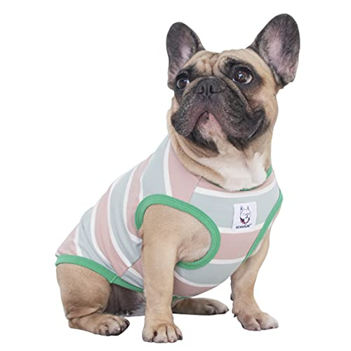 iChoue 100% Cotton Striped Dog Shirts Tank Top Vest Clothes for Medium Dogs Boy French Bulldog Frenchie Pug English Summer Pink Stripes - M