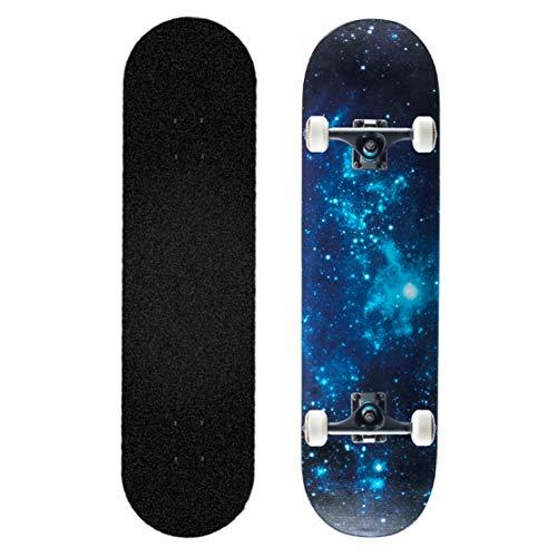 Pro Skateboard Komplett Doppeltritt Trick Skateboard 31 Zoll Ahorn Deck mit Rucksack T Schraubenschlüssel 4 X Originallager zum Anfänger Kind Erwachsene Jugend,Galaxy