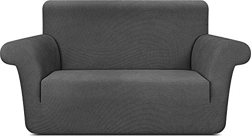 Utopia Ropa de Cama Elegante Funda de sofá (2 plazas/loveseat) Tejido elástico de poliéster Spandex Estampado para 57 a 70 Pulgadas (144 cm a 177 cm) Sofá/sofá Gris
