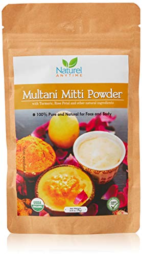 Multani Mitti powder/Bentonite Organic with Rose Petal and Rose Oil, Organic certified healing clay used for deep cleansing facials, scrubs 30-60 day full refund, eco-friendly package
