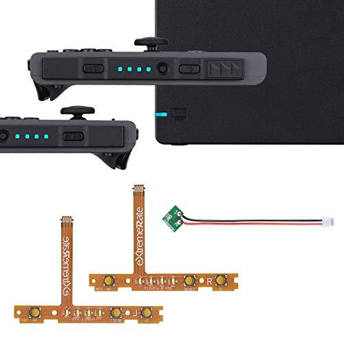eXtremeRate Firefly LED Tuning Kit Cable Flexible para Nintendo Switch Joycons Dock Flex Cable NS Joycon SL SR Botones Cable Plano LED Luz Indicadora de Encendido(Joycons Dock NO Incluido)-Hielo Azul