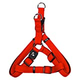 KRUZ PET KZA201-08M Step in Mesh Dog Harness, No Pull, Easy Walk, Quick Fit, Comfortable, Adjustable Pet Harnesses for Walking, Training, Small, Medium, Large Dogs - Orange - Medium