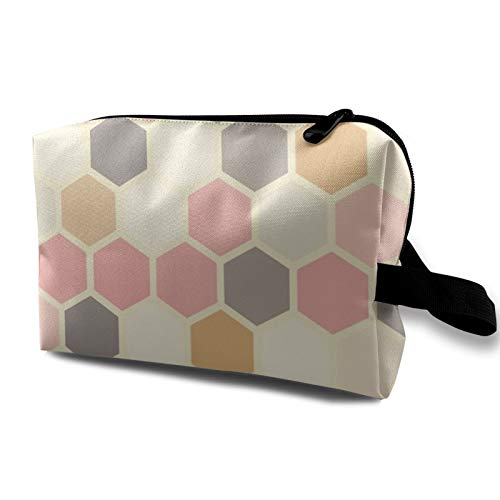 Bolsa de cosméticos de viaje, hexagonal, color rosa, gris, mostaza, amarillo, crema, bolsa de almacenamiento con cremallera, 12,4 x 6,5 x 10 cm.