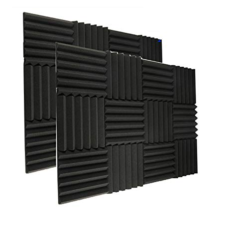 "24 Pack Acoustic Foam Panels 2"" X 12"" X 12"" Soundproofing Studio Foam Wedge Tiles Fireproof - Top Quality - Ideal for Home & Studio Sound Insulation (24pack, Black)"