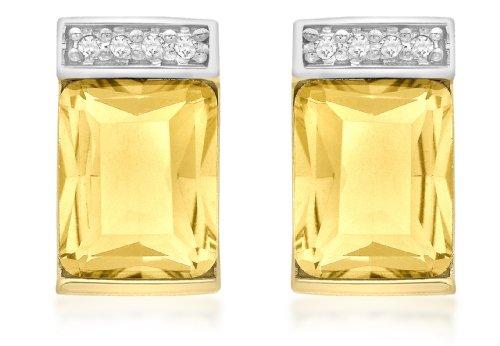 Carissima Gold Pendientes de mujer con oro amarillo de 9 quilates (375/1000), diamante, 2 cm