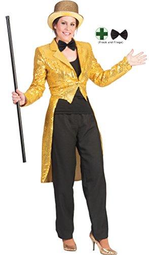 Karneval-Klamotten Frack Pailletten Damen Frack Damen Gold MIT Fliege schwarz Silvester Damen-Kostüm