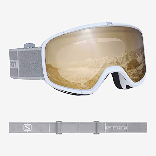 Salomon, Four Seven Access, Máscara de esquí unisex, Blanco/Naranja (Universal Tonic), L40516700