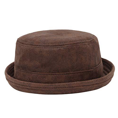 MARRYME-Sombrero Bombín Sombrero de Copa de Fieltro Unisex Sombrero Pork Pie Personalidad de Moda Diseño de Reborde Multiusos Estilo Retro Nostálgico