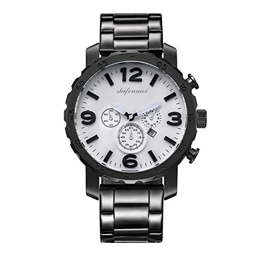 Moda casual cuarzo calendario hombres reloj de cuero deportes relojes horas reloj casual con tira de acero regalo