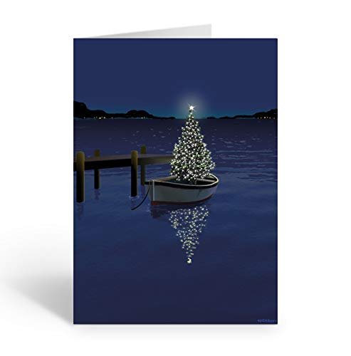Holiday Boat Christmas Card - 18 Boating Boxed Cards and Envelopes (Standard)