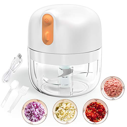 Verkstar Electric Garlic Chopper,250ML Food Processor with USB Charging 60W Strong Power Wireless Mini Mincer Vegetable Food Chopper for Garlic,Pepper,Chili,Onions,Carrot,Nuts,Meat