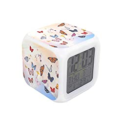 """BoWay 3""""Desk & Shelf Clock Butterfly Digital Alarm Clock with Led Lights Yellow Table Clock for Kids Teenagers Adults Home/Office Decor"""