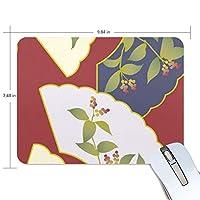 Jiemeil マウスパッド 高級感 おしゃれ 滑り止め PC かっこいい かわいい プレゼント ラップトップ などに 扇子 お洒落 和風 花柄 和柄 葉紋 可愛い
