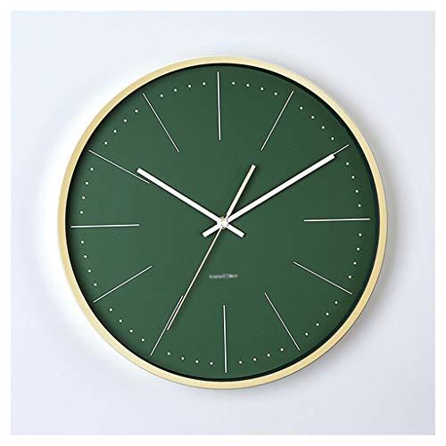 Reloj de Pared Reloj de pared de marco de metal de estilo europeo redondo Exquisito Simple Modern Wall Clock Mute no perturba el reloj de la pared del dormitorio Green Green Reloj de Pared silencioso