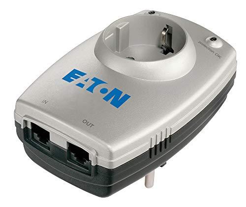 Eaton Protection Box 1 TEL@ DIN - Steckdosenadapter mit Überspannungsschutz (Schuko Stecker, Telefon Schutz) - silber