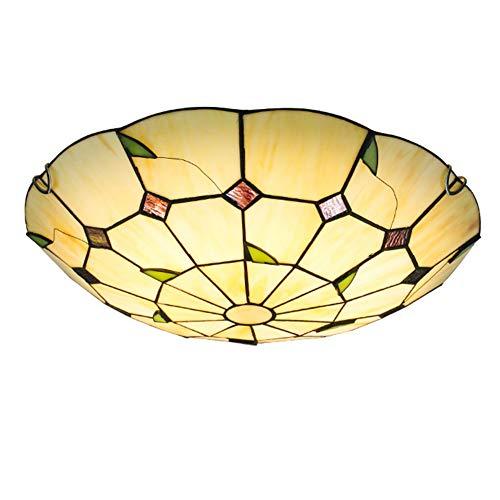 Jay Lámparas de Techo Redondas Tiffany Accesorios Lámparas de Techo Simples y Modernas Pantalla de círculo Rural Sala de Estar Dormitorio Hotel Pasillo Montaje Empotrado Decoración Iluminación,40cm