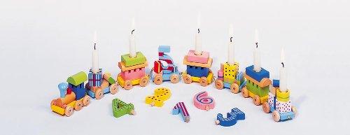Holzzwerge Geburtstagszug mit Zahlen 1-10 und 10 Kerzen (rosa)