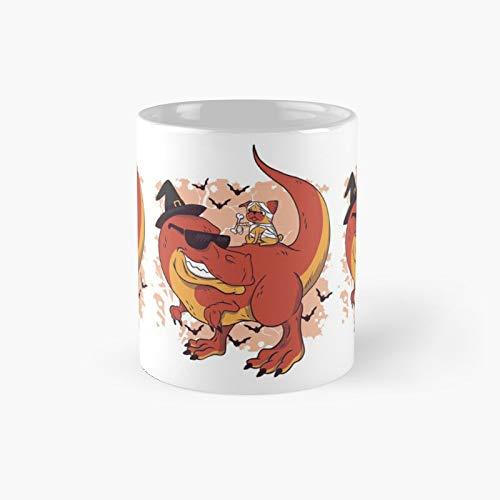 Dino Riding Halloween Pug Taza clásica | Mejor regalo Divertidas tazas de café 11 oz