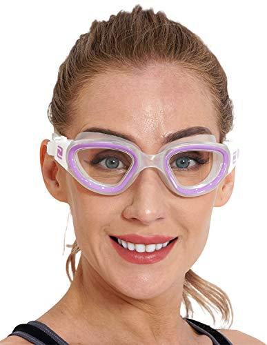 ZABERT Damen Schwimmbrille, W1 Profi Schwimmbrillen für Damen Frauen Mädchen Kinder 8+ Jahre, Antibeschlag UV-Schutz Testsieger Wettkampf Triathlon Training Hell Lila Klar Transparent Clear