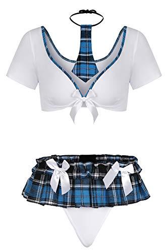 Evelure Sexy Dessous-Set für Damen, erotische Unterwäsche, Schulmädchen, Outfit, Kostüm, Nachtwäsche Gr. Medium, 8222blau