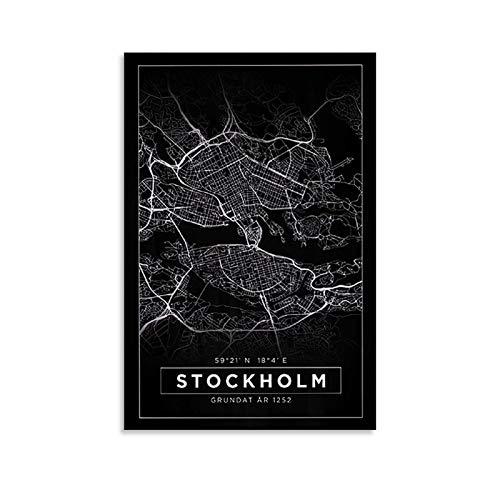 DSADGHHF Stockholm Karta Affisch Dekorativ Målning Canvas Väggkonst Vardagsrum Affischer Sovrum Målning 60 x 90 cm (24 x 36 tum)