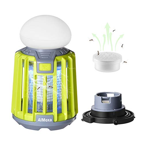 AiMoxa Portable Bug Zapper & Camping Lantern 【2pcs Insect Attractants Included】, Waterproof Mosquito Killer Trap for Outdoor Indoor, 2000mAh USB Rechargable Battery, Backyard, Patio, Tent