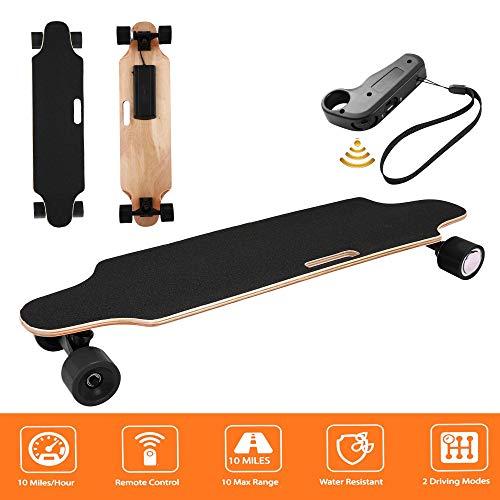 Hiriyt Elektrisches Skateboard Longboard Skateboard mit Funkfernbedienung auf Vier Rädern, Höchstgeschwindigkeit 20km/h (90 x 20.5 x 12cm_Schwarz)