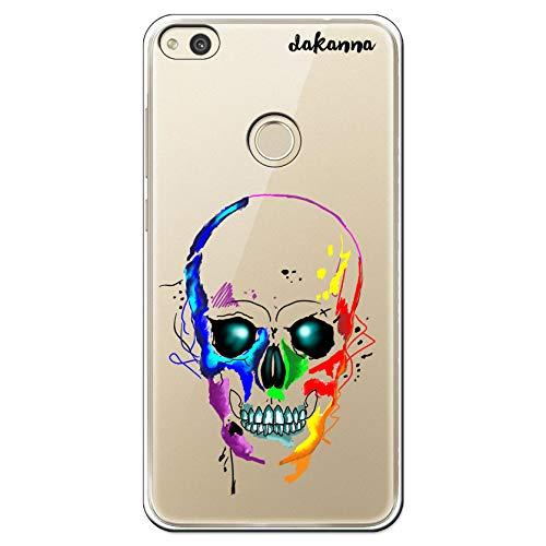 dakanna Funda Compatible con [Huawei P8 Lite 2017] de Silicona Flexible, Dibujo Diseño [Calavera Watercolor], Color [Fondo Transparente] Carcasa Case Cover de Gel TPU para Smartphone