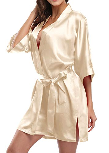 Giova Pure Color Satin Short Silky Bathrobe Sleepwear Nightgown Pajama,Champagne,Small