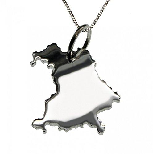 50cm Halskette + Bayern Anhänger in massiv 925 Silber