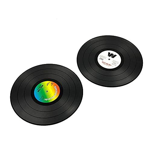 ABCABC Tabla de grabación de Vinilo Mats Beber Coaster 2PCS Mesa de tamaño Medio Mesa Placemats Creative Pot Plate Posales Resistente al Calor Nolips (Color : Random Color)