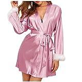 YANFANG Nuevos Pijamas de Seda Satinada para Mujer, lencería, Batas, Ropa Interior, Ropa de Dormir, Sexy,de Color sólido Sexy, el Día de San Valentín
