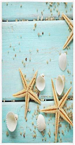 Starfish Seashell Sand on Wooden Summer Toalla de impresión Personalizada 27,5' x15,7 Toalla de Cara Suave Absorbente Toalla de baño de Cocina para el hogar Toalla para Invitados