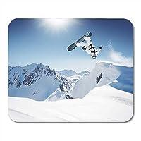 マウスパッドブルースキースノーボード高山でジャンプスポーツジャンプ雪冬ラップトップ用マウスパッド、デスクトップコンピューターアクセサリーミニオフィス用品マウスマット