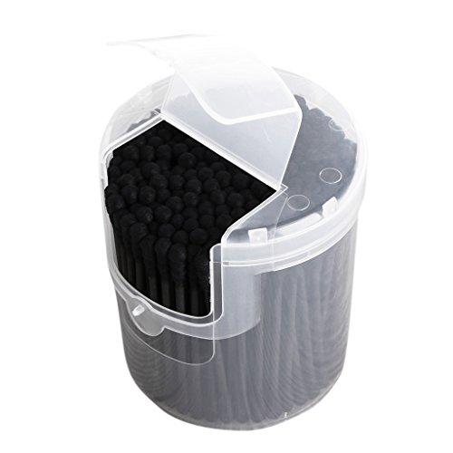 1 Box Wattestäbchen, Wattestäbchen-Spender, 200 Stück, aktiviert, Schwarz, antibakterielle Wattestäbchen, doppelter Kopf-Reinigung