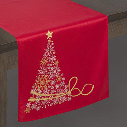 Eurofirany tafelkleed, tafelloper, tafeldecoratie, tafelkleed, kerstmis, tafeldecoratie, glitter, sneeuwvlokken, rood, 40 x 140 cm