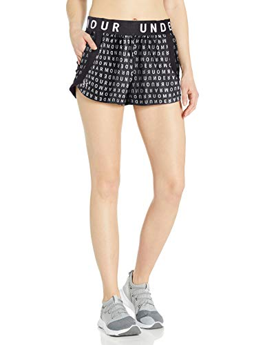 Under Armour Play Up 3.0 Print Workout Gym Short Pantaloncini, Nero (002)/Bianco, S Donna