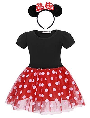 Jurebecia Vestido de Lunares + Mini Mouse Ears Diadema para niñas Princesa Bowknot Tutu Fiesta de cumpleaños Trajes 6-7 años