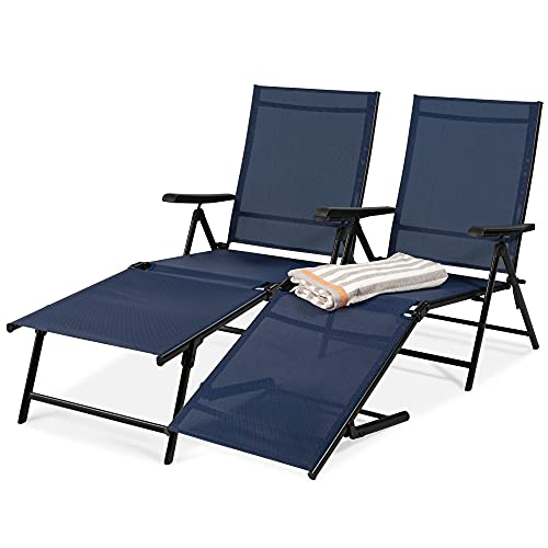 Best Choice Products Set of 2 Outdoor Adjustable Folding Steel Textiline Chaise Reclining Lounge Chairs w/ 6 Back & 2 Leg Positions - Navy Blue