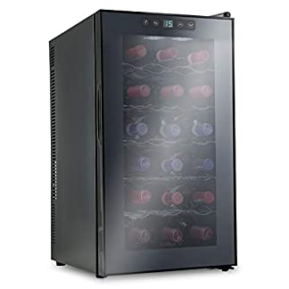 Ivation-18-Flaschen-thermoelektrischer-Rot-und-WeissweinkuehlerWeinkeller-fuer-die-Arbeitsplatte-mit-digitaler-Temperaturanzeige-freistehender-Kuehlschrank-Rauchglastuer-Kuehler-mit-leisem-Betrieb