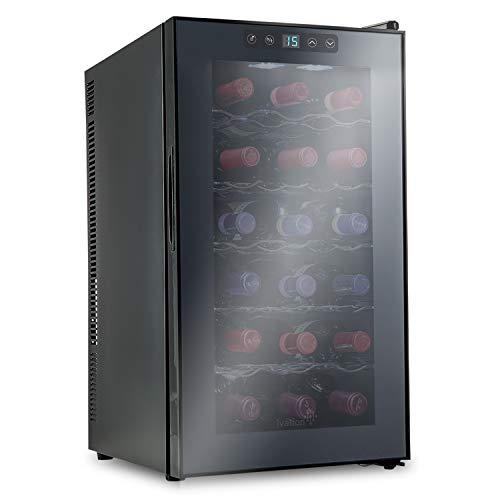 Refrigeratore termoelettrico per vino di Ivation, capacità: 18 bottiglie di rosso/bianco, display digitale con temperatura indicata, vetro temperato e affumicato, silenzioso