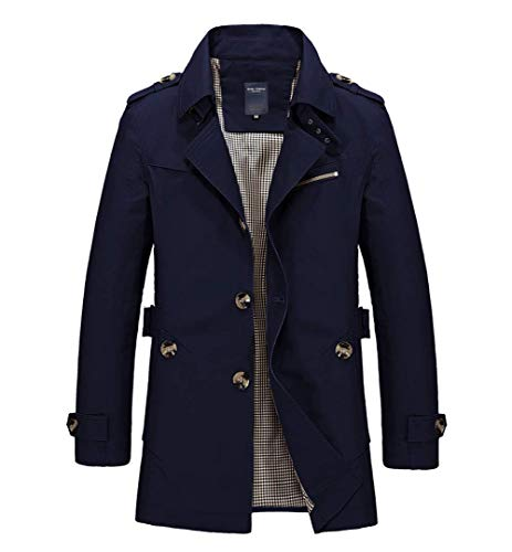chouyatou Men's Slim Notched Collar Single Breasted Cotton Jacket Office Trench Coat (Large, Navy Blue)