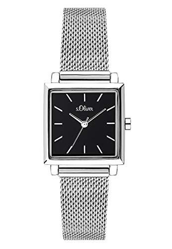 s.Oliver Damen Analog Quarz Uhr mit massives Edelstahl Armband SO-3712-MQ