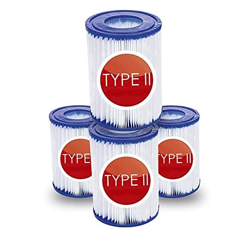 Mscomft Ersatz-Filterkartuschen Größe II geeignet für Bestway Familien-Pool,Filter Typ II für Bestway 58094,aufblasbarer Pool-Filter,Filterkartuschen Kartuschenfilter Papier (4PCS)